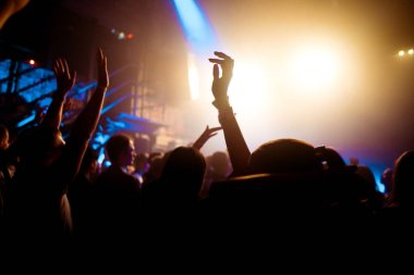 people at a concert in a nightclub, a concert hall, a party