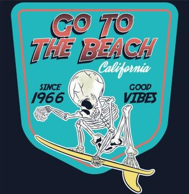 Pacific ocean skeleton surfer vector art stock illustration