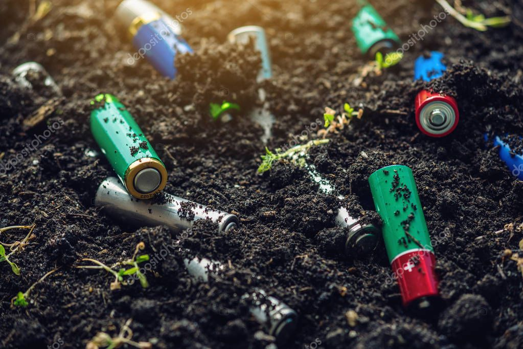 Used alkaline batteries lie in the soil where plants grow. The concept of environmental pollution with toxic household waste