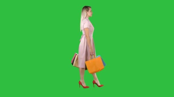 Happy hezká dívka drží chůzi s nákupní tašky na zelené obrazovce, Chroma Key.