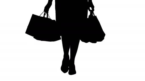 Silueta mladá žena nohy nošení barevných nákupní tašky.