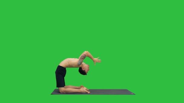 Yogi pózuje velbloudí jógy na zelené obrazovce, Chroma Key.