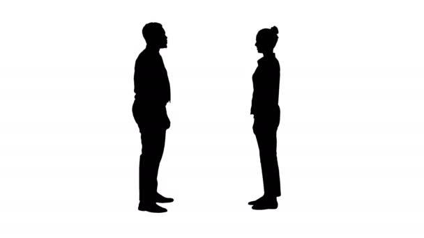 Teljes hossz. Silhouette Fiatal nő és fiatal férfi formális ruhákban ad pacsit. Professzionális felvétel 4K felbontásban. 012-es. Használhatja például. kereskedelmi videó, orvosi, üzleti