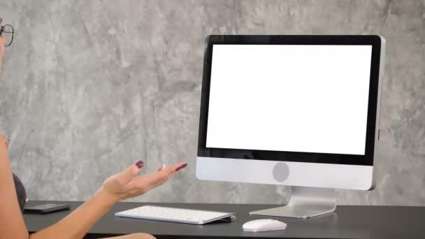 Woman having video call. White Display.