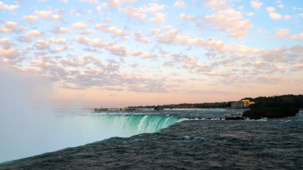 Niagara falls horse shoe with the sky during sunset.
