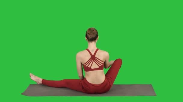 Žena lotosu představují na zelené obrazovce, Chroma Key.