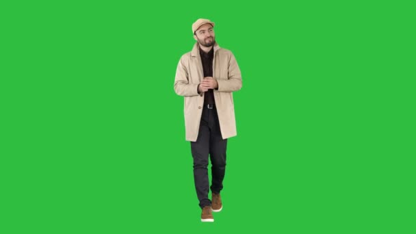 Full length shot. Man has the best idea and happy about it on a Green Screen, Chroma Key. Professional shot in 4K resolution. 006. You can use it e.g. in your commercial video, business, presentation