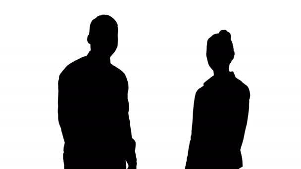 Silueta mezinárodní spokojený úsměv, muž a žena ukazuje palec.