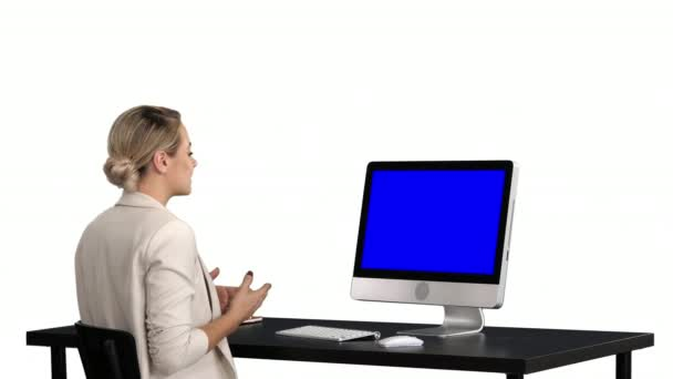 Business video call, businesswoman having videoconference, white background. Blue Screen Mock-up Display.