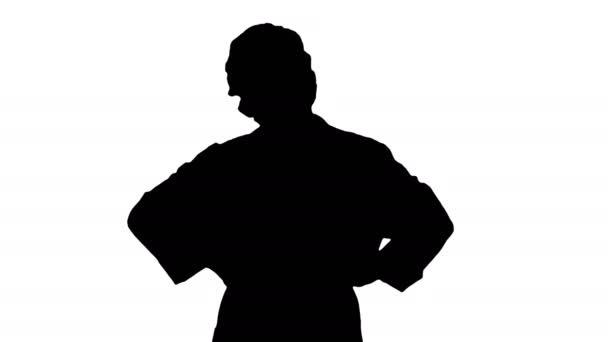 Silhouette Weibliche Geek Doktor mit den Händen auf den Hüften.