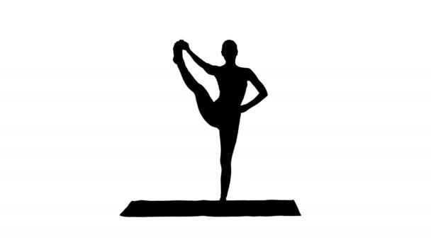 Silueta žena jóga model tvorby stojící rozdělené usmívání.