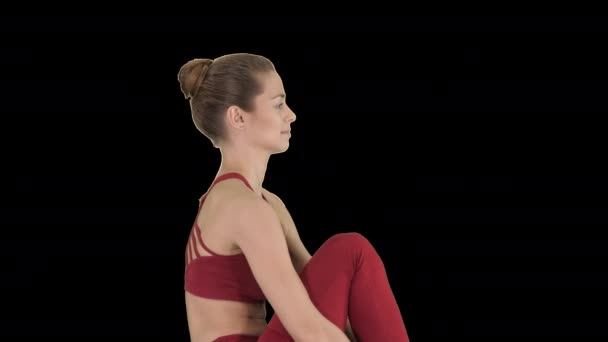 Young woman show perfect split, Alpha Channel