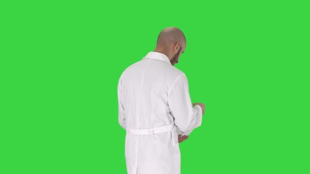 Science engineer walking in helmet Safety concept on a Green Screen, Chroma Key.