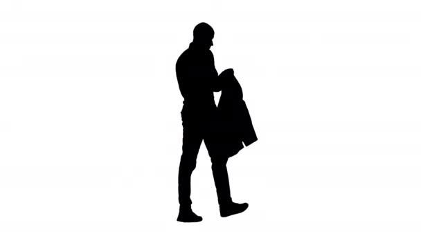 Silhouette lässig Mann Blazer anziehen. Es wird kalt.
