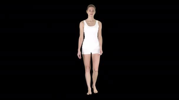 Barfuß-Mädchen in weißen Shorts und weißem Hemd, Alpha Channel