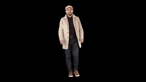 Muž s tmavými vousy v lehkém plášti, Alfa Channel