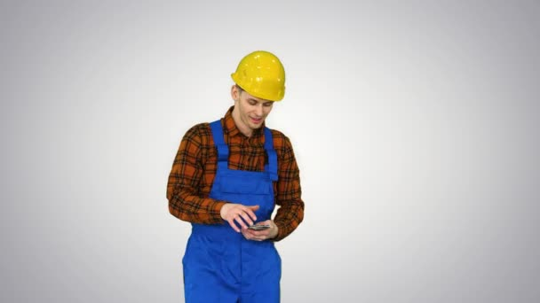 Builder counting his salary and dancing in a comic way on gradient background.