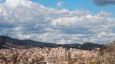 Summer day Barcelona cityscape. Architecture, building.