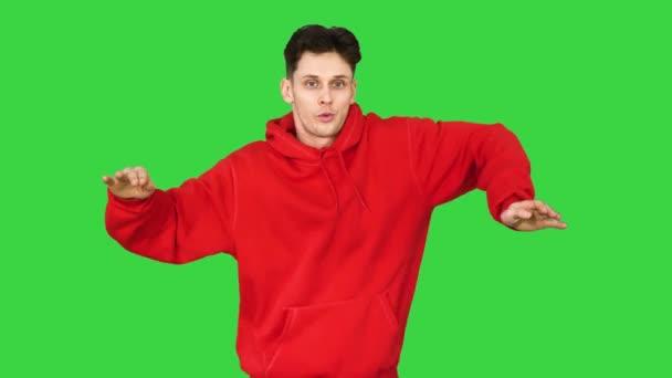 Breakdancer Freestyle Elektromos Boogie Dance egy zöld képernyőn, Chroma Key.