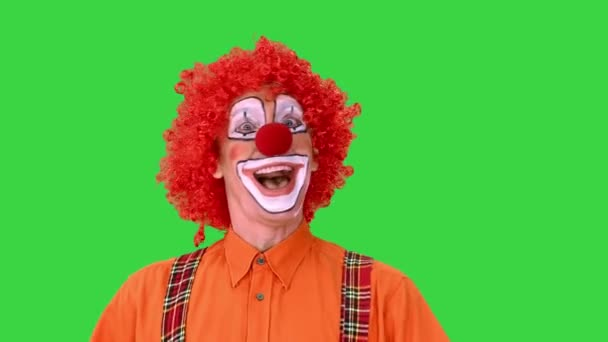 Šťastný chodící klaun hledící do stran na zelené obrazovce, Chroma Key.