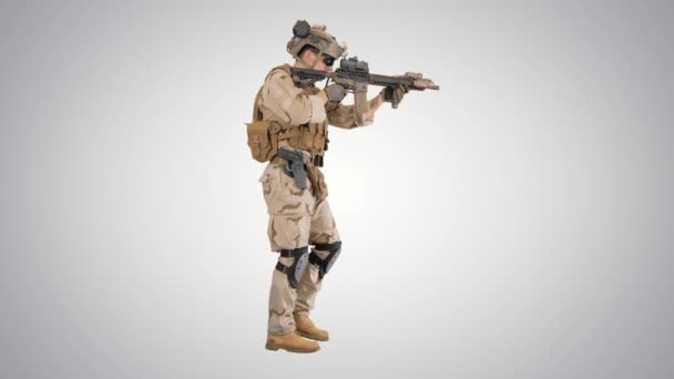 Soldier Walking and Aims through the Assault Rifle on gradient background.