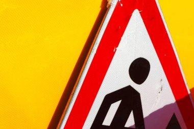 Roadworks ahead road sign