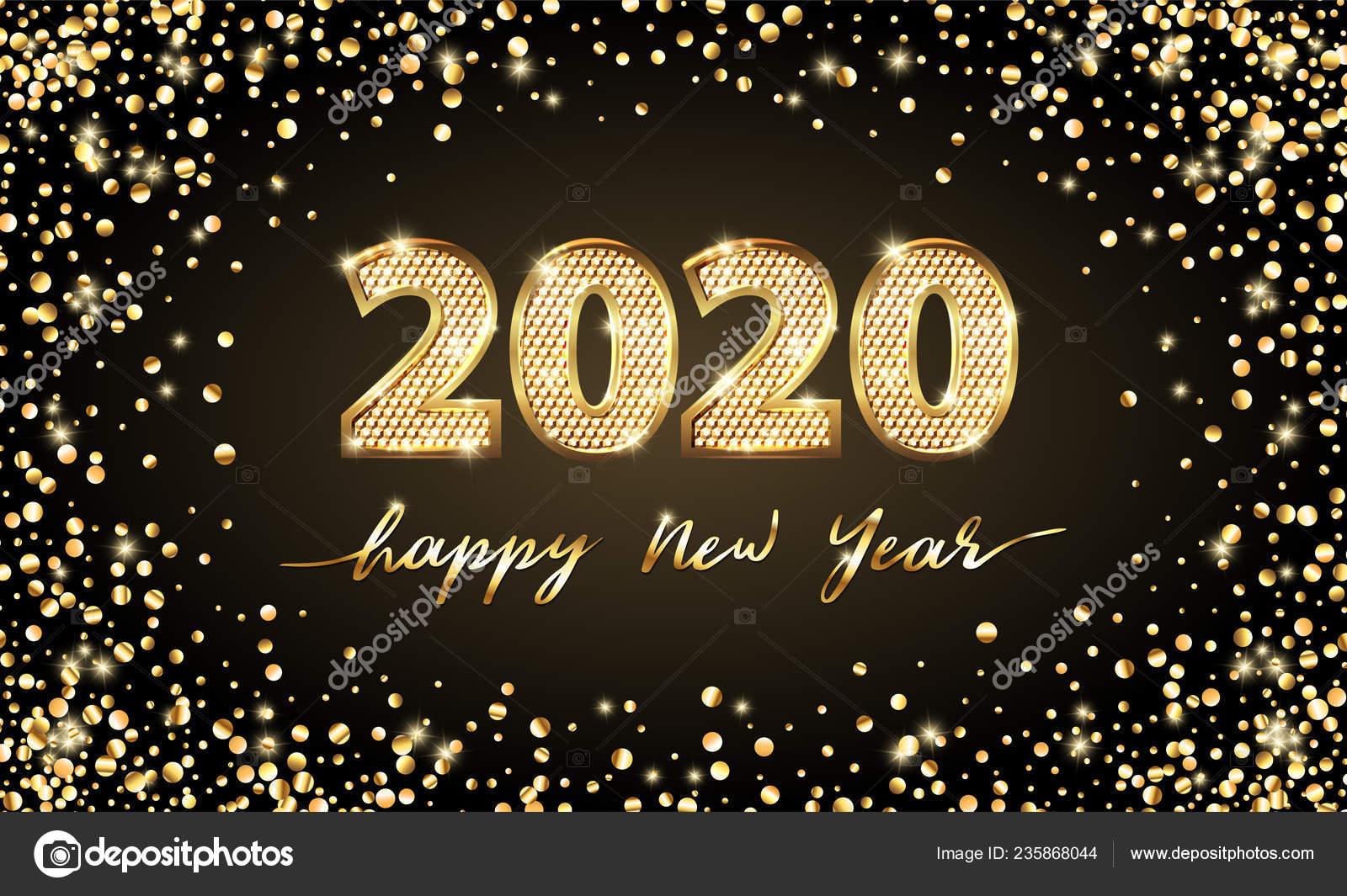 Feste Calendario 2020.Golden Vector Lusso Testo 2020 Felice Nuovo Anno Oro Design