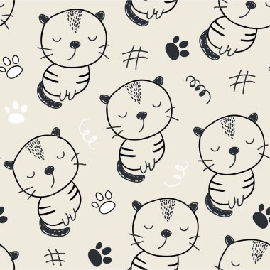 seamless pattern with cute cats. vector illustration for textile,fabric