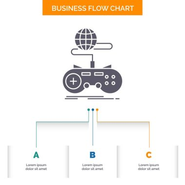 Game, gaming, internet, multiplayer, online Business Flow Chart Design with 3 Steps. Glyph Icon For Presentation Background Template Place for text.