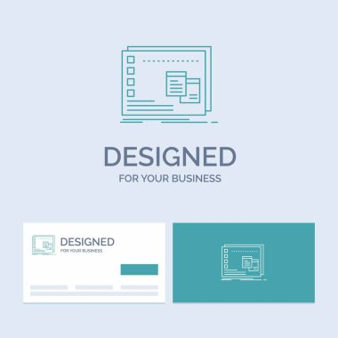 Window, Mac, operational, os, program Business Logo Line Icon Symbol for your business. Turquoise Business Cards with Brand logo template icon