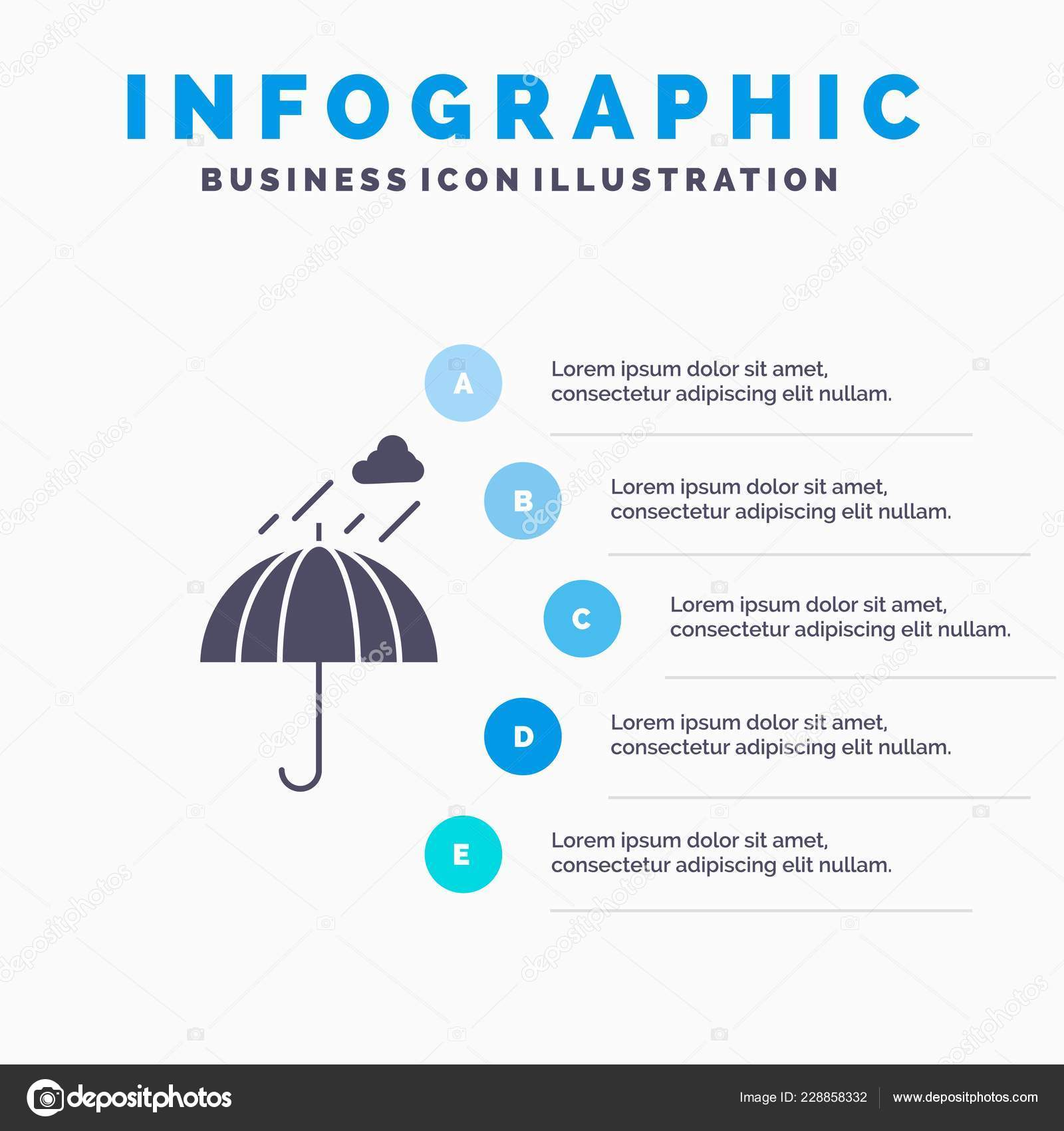 Umbrella Camping Rain Safety Weather Infographics Template