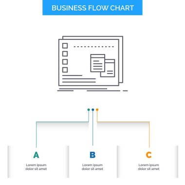 Window, Mac, operational, os, program Business Flow Chart Design with 3 Steps. Line Icon For Presentation Background Template Place for text icon