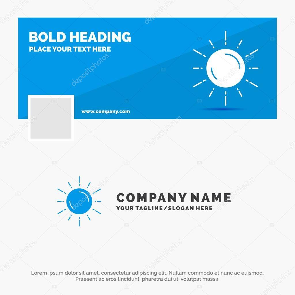 Blue Business Logo Template for sun, space, planet, astronomy, weather. Facebook Timeline Banner Design. vector web banner background illustration
