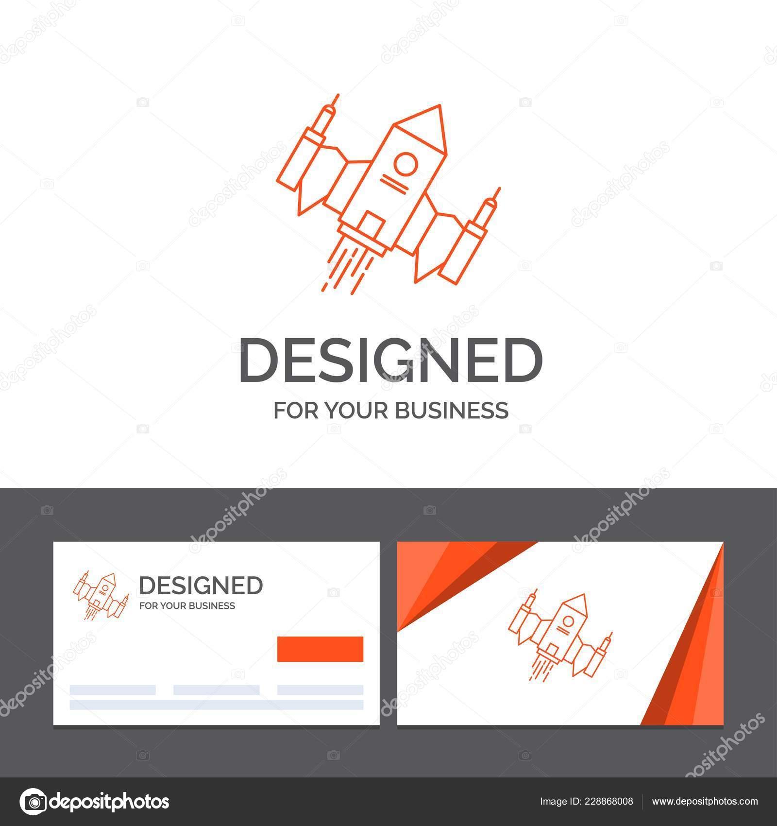 Modele De Logo Metier Pour Lespace Alien Navire Vaisseau Spatial Cartes Visite Orange Avec Marque Vecteur