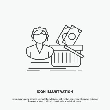 Salary, Shopping, basket, shopping, female Icon. Line vector gray symbol for UI and UX, website or mobile application