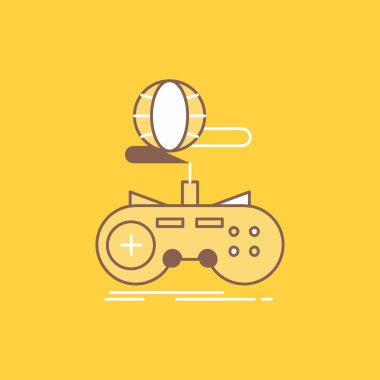 Game, gaming, internet, multiplayer, online Flat Line Filled Icon. Beautiful Logo button over yellow background for UI and UX, website or mobile application