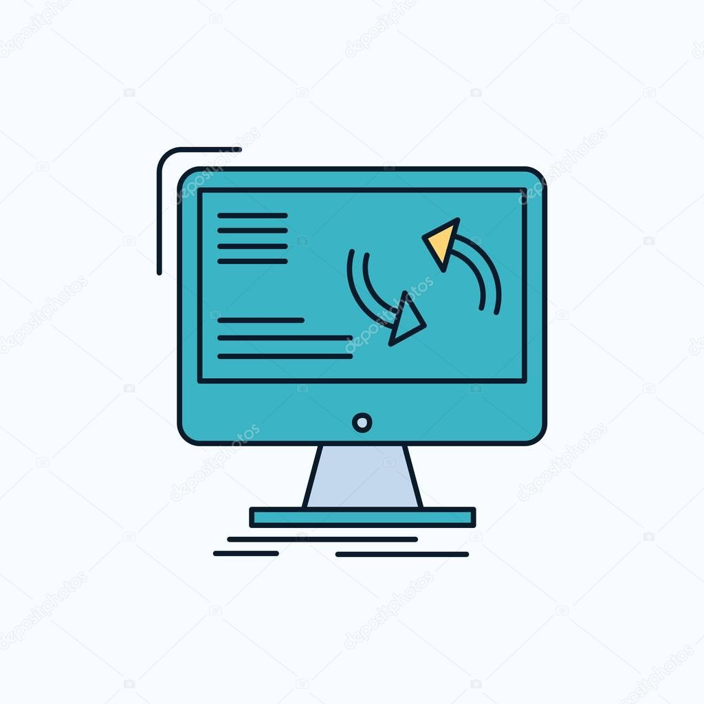 synchronization, sync, information, data, computer Flat Icon. green and Yellow sign and symbols for website and Mobile appliation. vector illustration