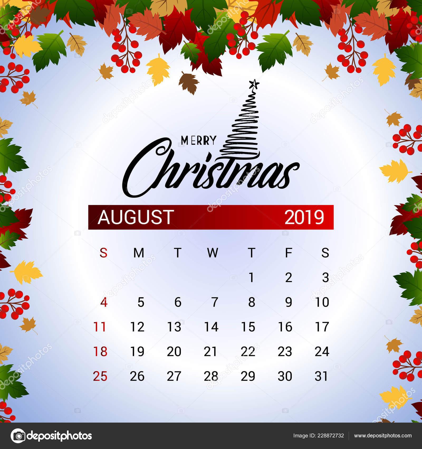 Calendario De Agosto 2019 Decorado.Plantilla Diseno Decoracion Navidad Ano Nuevo Del Calendario