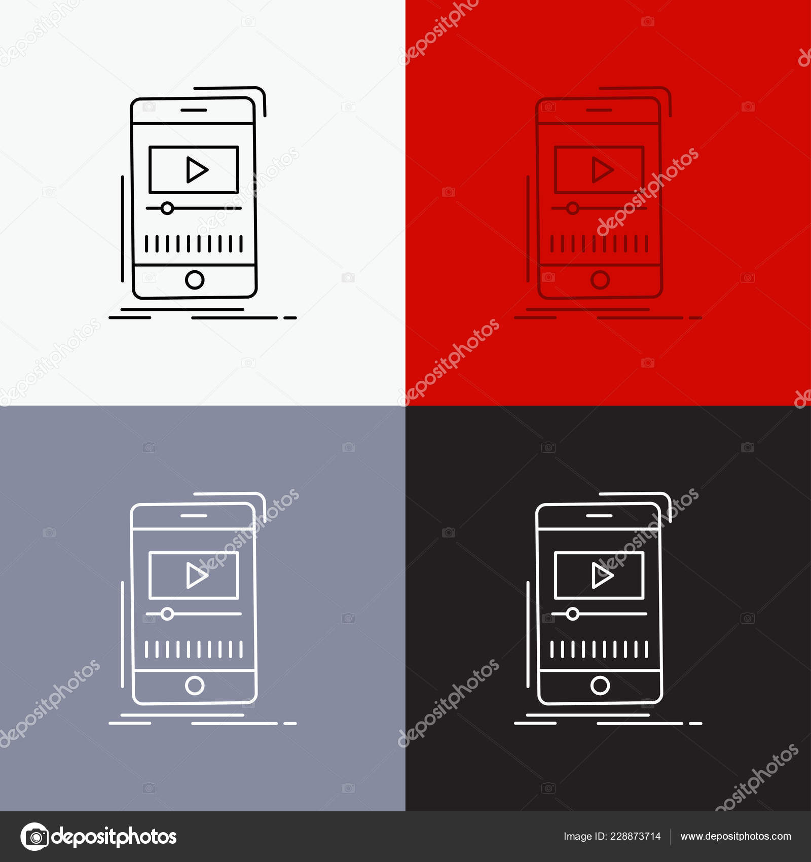 Media Music Player Video Mobile Icon Various Background Line Style