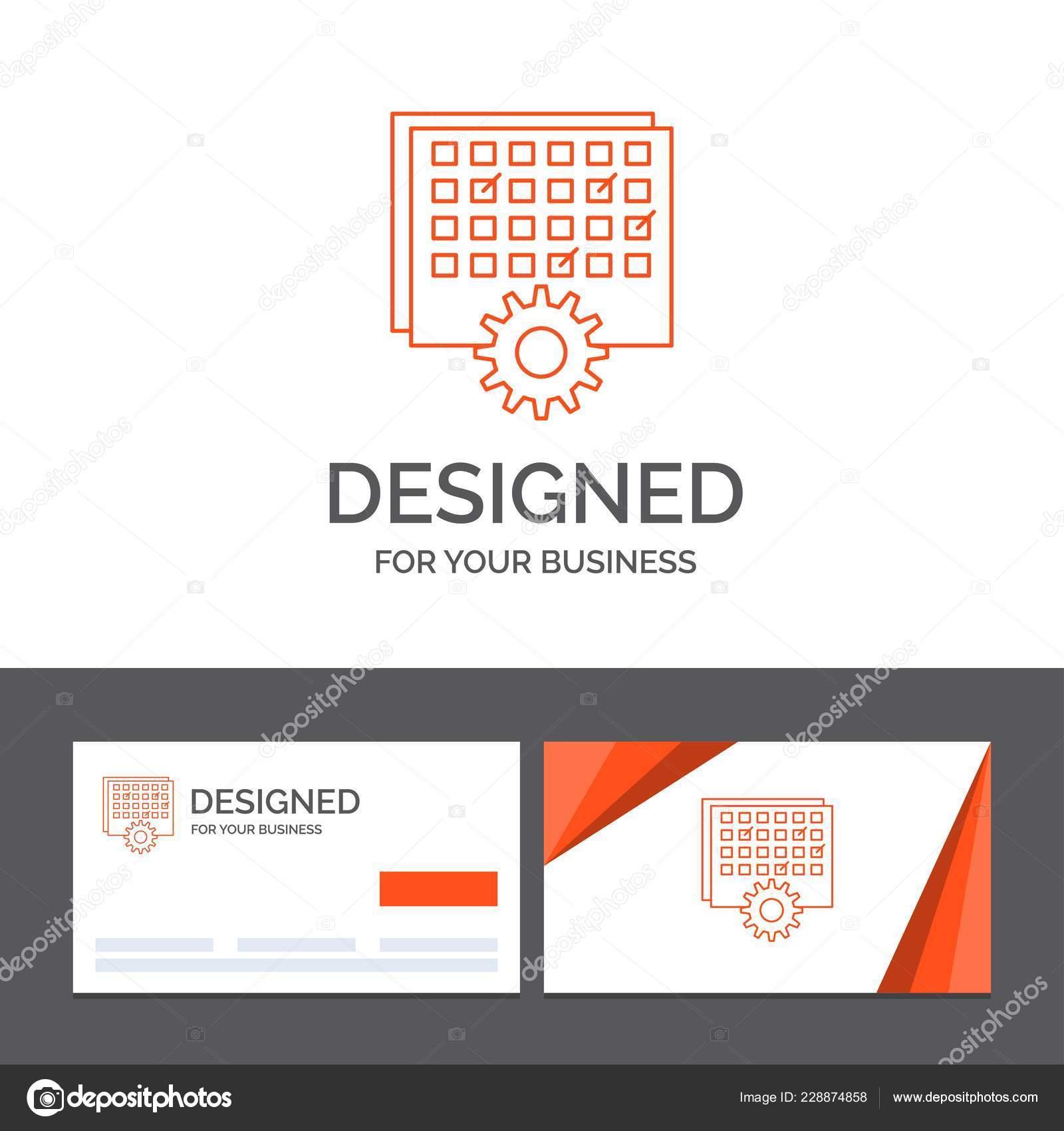 Modele De Logo Metier Pour Levenement Gestion Traitement Calendrier Cartes Visite Orange Avec Marque Illustration