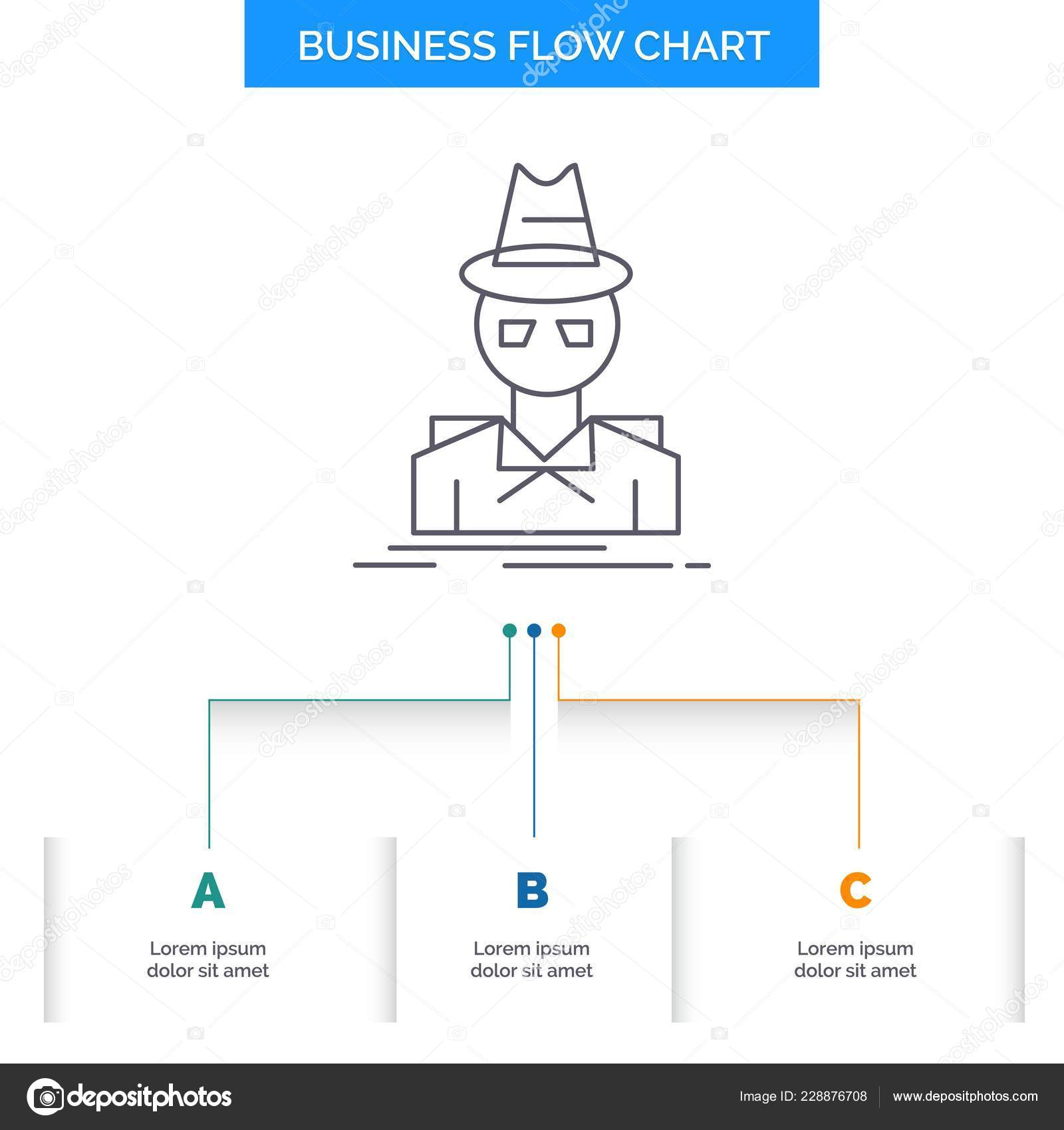625f5de7 Detective, hacker, incognito, spy, thief Business Flow Chart Design with 3  Steps. Line Icon For Presentation Background Template Place for text —  Vector by ...