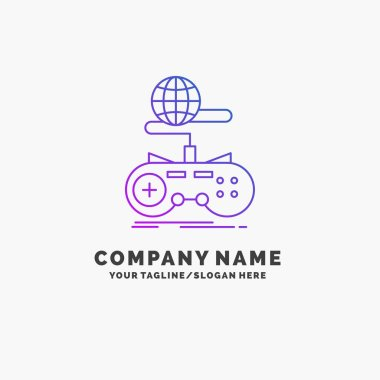 Game, gaming, internet, multiplayer, online Purple Business Logo Template. Place for Tagline