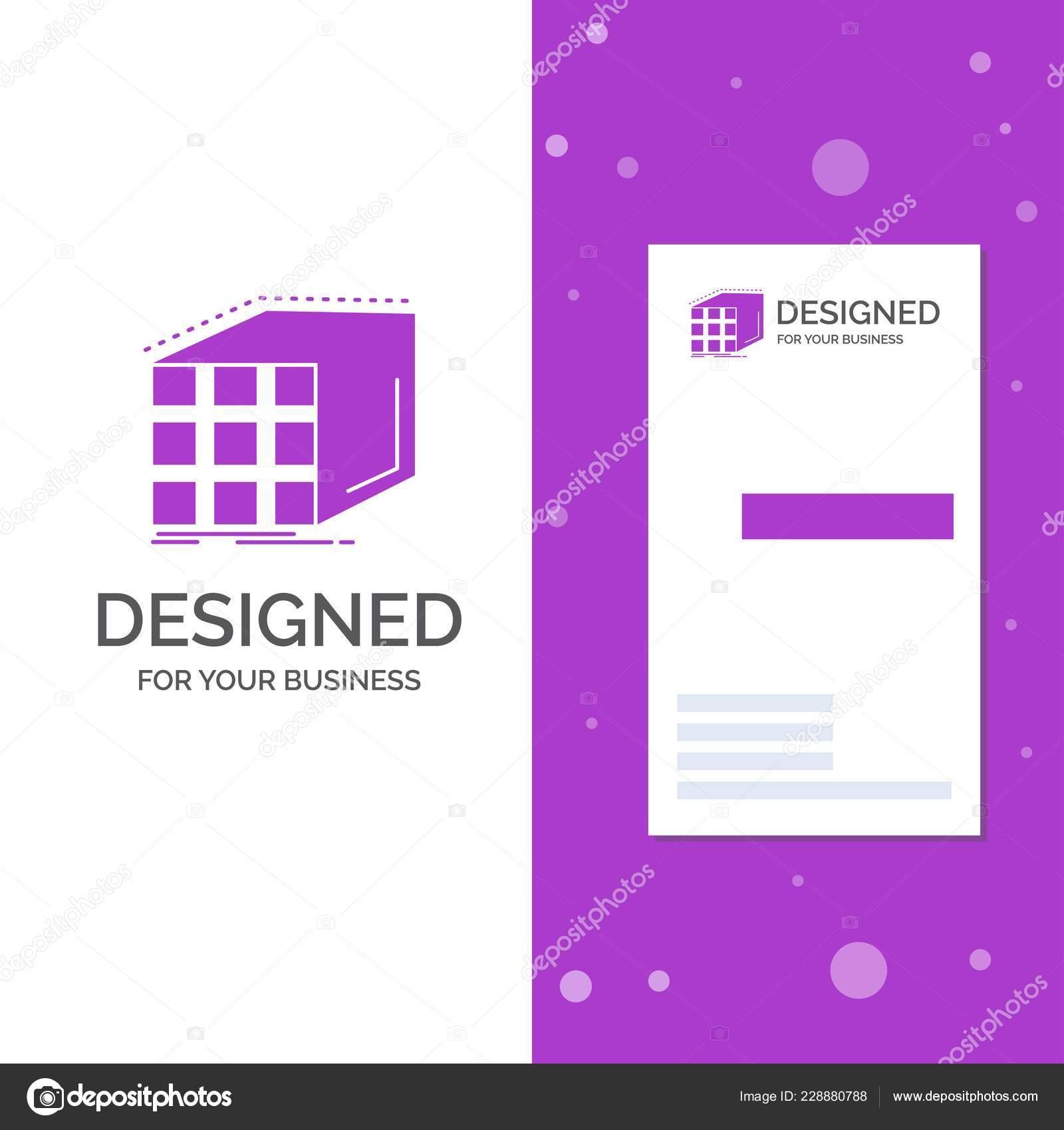 Logo De Lentreprise Pour Labstraite Agregation Matrice Dimension Cube Business Violet Vertical Modele Carte Visite