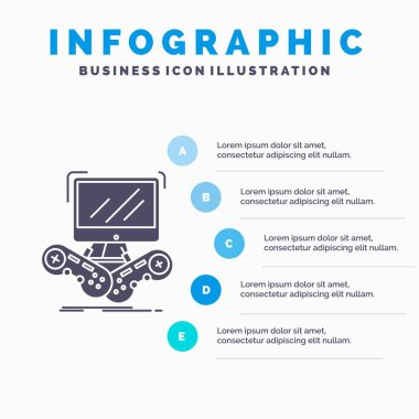 Game, gaming, internet, multiplayer, online Infographics Template for Website and Presentation. GLyph Gray icon with Blue infographic style vector illustration.
