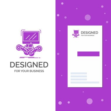 Business Logo for Game, gaming, internet, multiplayer, online. Vertical Purple Business / Visiting Card template. Creative background vector illustration