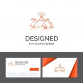 Business logo template for Nature, hill, landscape, mountain, blast. Orange Visiting Cards with Brand logo template