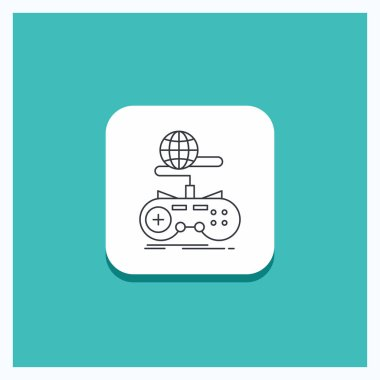 Round Button for Game, gaming, internet, multiplayer, online Line icon Turquoise Background