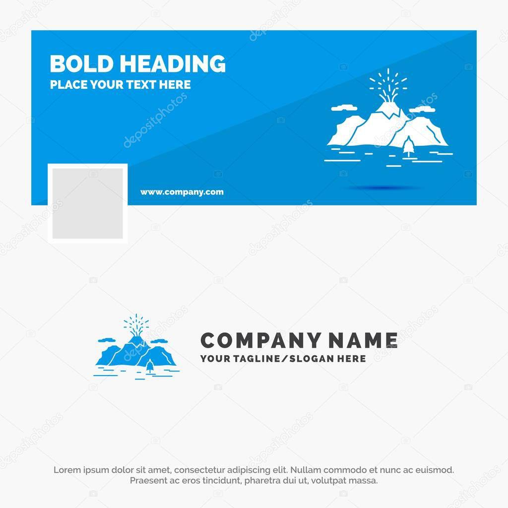 Blue Business Logo Template for Nature, hill, landscape, mountain, blast. Facebook Timeline Banner Design. vector web banner background illustration