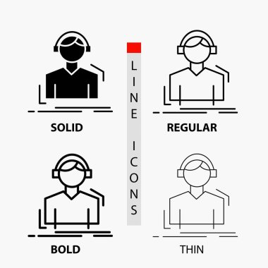 Engineer, headphones, listen, meloman, music Icon in Thin, Regular, Bold Line and Glyph Style. Vector illustration