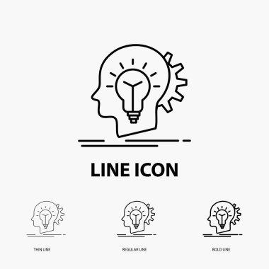 creative, creativity, head, idea, thinking Icon in Thin, Regular and Bold Line Style. Vector illustration
